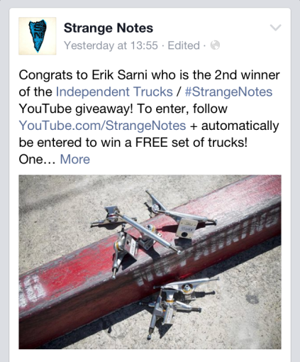 Strange Notes Independent truck Co. Erik sarni